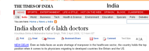 India Short of 6 Lakh Doctors